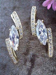 Brinco Bijuteria Cor De Ouro Pedra Transparente