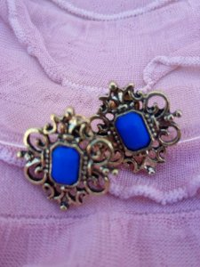 Brinco Bijuteria Cor Azul Cel