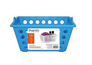 caixa Organizadora Cesto Plástico Empilhável 2,2 L - Azul