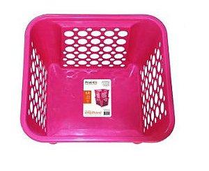 Caixa organizadora  Cesto Plástico Empilhável 4,6 LT - Rosa