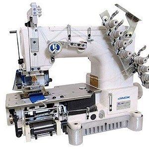 Maquina de costura 4 agulhas para rebater elástico, de ponto corrente eletrônica Jack JK-8009VCDII-0408P-UT/PL - 220 V