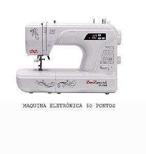 MAQUINA DE COSTURA DOMESTICA SUN SPECIAL COM 50 PONTOS MODELO SS1060 - BRANCA AUTO VOLT