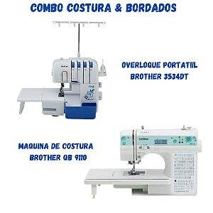 COMBO VAMOS EMPREENDER COM OVERLOQUE BROTHER 3534 DT + MAQUINA DE COSTURA BROTHER QB 9110L COM BASE DE CORTE E CORTADOR CIRCULAR PARA PATCHWORK