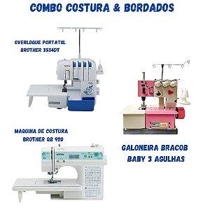 COMBO EMPREENDA AGORA COM MAQUINA DE COSTURA BROTHER QB 9110L + OVERLOQUE BROTHER 3534DT + GALONEIRA PORTATIL BRACOB BABY