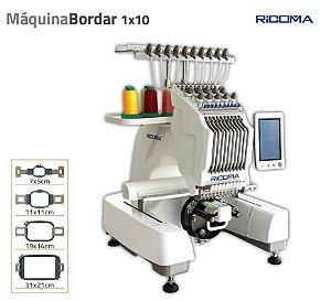 Maquina de Bordar Ricoma EM-1010 10 agulhas com Kit de 50 linhas de bordados com 2 Bastidores de Bones