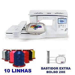 Maquina de Bordar Brother bp 1430L com Bastidor Extra de Bolso + Kit com 15 linhas Ricamare