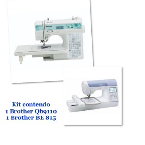 Kit Empreendedor com 1 Bordadeira Brother Be 815 + 1 Maquina de Costura Brother Qb 9110- Autovolt