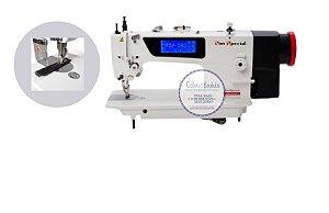 Máquina de Costura Industrial Reta Transporte Duplo Eletrônica SS0303D4-BA-QI  - 220 V + KIT INICIAL