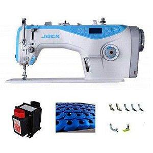 Maquina de Costura Reta Eletronica Jack A4 - 220 V Com Kit de Calcadores Bobinas e Agulhas