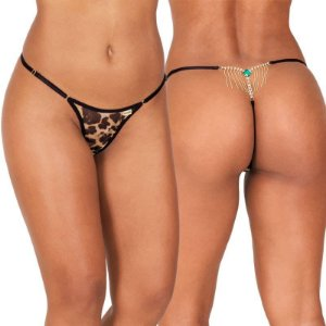 Calcinha Erótica Sexy em tule animal com biju atrás, cintura c/regulagem