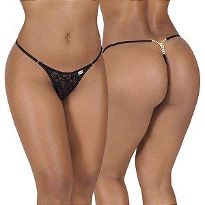 Calcinha erótica sexy  em renda c/biju tipo zíper no bumbum, cintura c/regulagem.