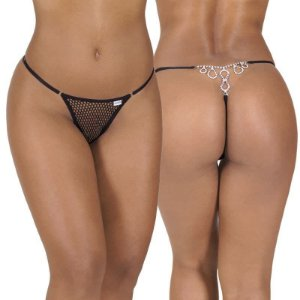Calcinha erótica sexy tecido furadinho, estilo arrastão, com biju atrás, cintura c/regulagem