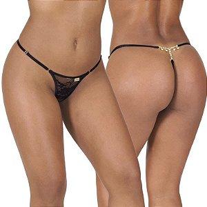 Calcinha erótica sexy em renda com biju no bumbum, cintura c/regulagem