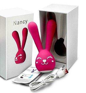 Vibrador Massageador formato Coelho com 20 modos de vibração 13 x 12cm - Nancy