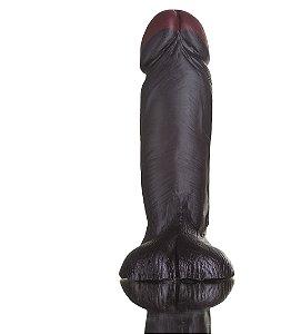 Prótese realística com escroto 16x6 Hot Black