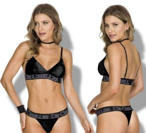 Conjunto lingerie sutiã veludo c/bojo  removível e calcinha fio veludo com elástico personalizado