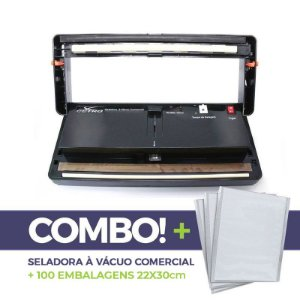 Seladora a Vácuo Comercial + 100 embalagens 22x30