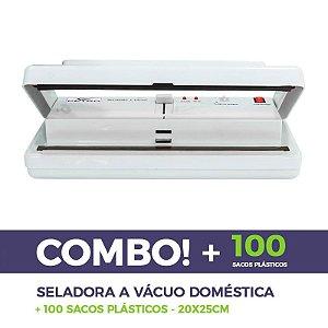 Seladora A Vácuo Doméstica 220v + 100 Embalagens 20x25cm