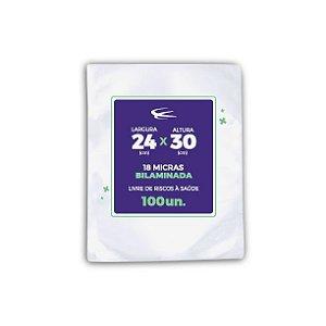 Embalagem a Vácuo Bilaminada 18 Micras 24x30 - 100 Unidades