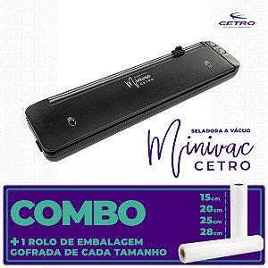 Seladora a Vácuo Portátil Minivac + Embalagem Gofrada 15, 20, 25, 28 cm (1 und. cada)