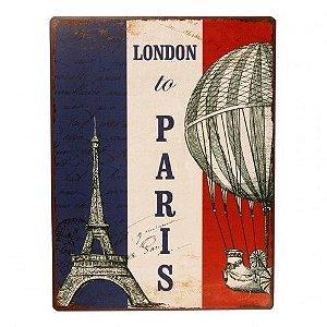 Placa Decorativa Metal - Paris - 35x27cm