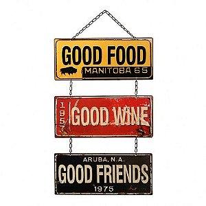 Placa Decorativa Metal - Good - 61x30cm
