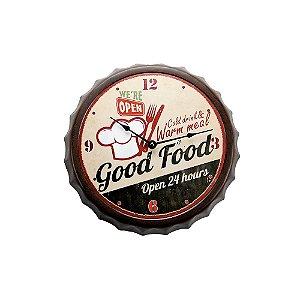 Relógio de Parede - Metal 33cm - Bottle Cap Good food