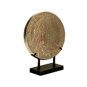 Moeda Antiga Decorativa com Suporte de Metal