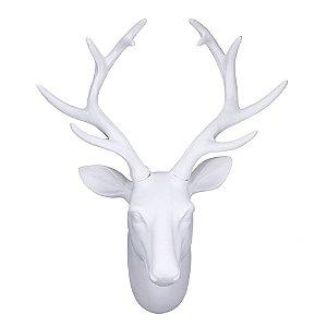 Cabeça de Alce/Cervo/Veado decorativa para parede - Branco