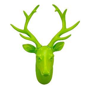 Cabeça de Alce/Cervo/Veado decorativa para parede - Verde