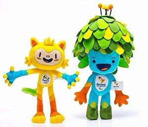 A - Pelúcia Mascote Olimpíadas Rio 2016 - Tom e Vinicius 30cm (Produto Oficial)