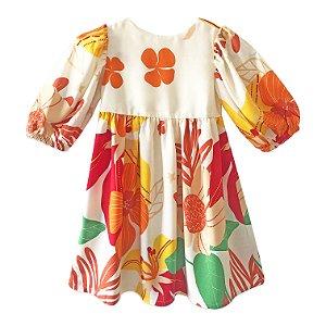 Vestido infantil manga bufante alegria das flores