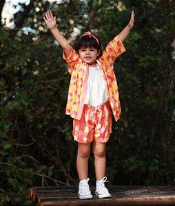 Conjunto infantil kimono e short cogumelo xadrez