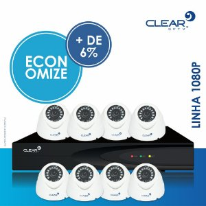 KIT 08 CAMERAS DOME PLASTICO 1080P L12 3,6MM + 01 HVR 08 CANAIS