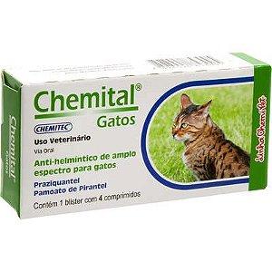 Vermífugo Chemitec Chemital para Gatos 4 Comprimidos