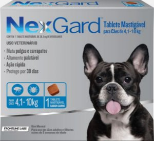 Antipulgas e Carrapatos NexGard 4,1Kg a 10Kg