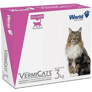 Vermífugo World Veterinária VermiCats para Gatos de 3 Kg ( 4 comprimidos)