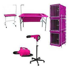Secador Soprador Minag Mesa Canil E Banheira Pet Shop Rosa