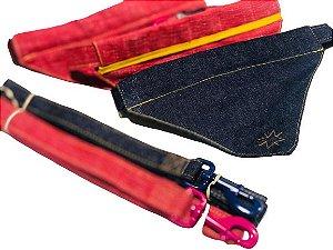 Coleira Bandana + Guia Vermelha e Jeans