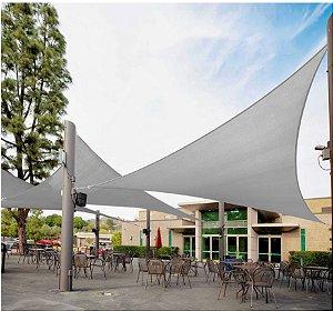 Tela Triangular 4x4x5.6 m + Kit de Instalação Cinza
