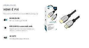 Cabo HDMI Gold 2.1 PIX, 8K, 1.5m - 018-2121 Promoção