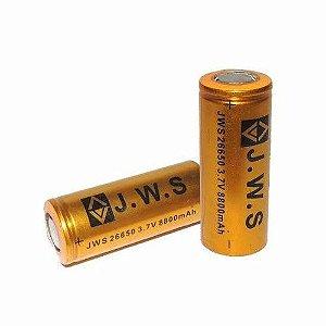 2 Carregadores 26650 com Fio + 2 Baterias JWS Dourada 26650