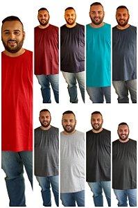 Camisetas Básicas Masculina  Plus Size Algodão BIGMEN