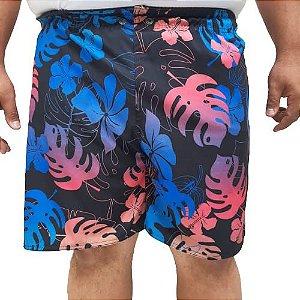 Short Praia Elastano Folhas Masculino Plus Size