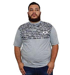 Camiseta Plus Size Masculina Cinza Listrada Florida