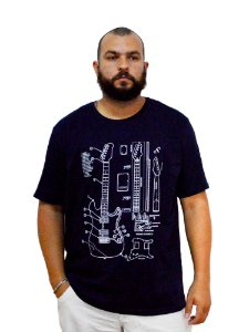 Camiseta Plus Size Masculina Austin Life Estampa Guitarra Azul