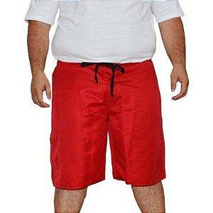 Bermuda D'água Masculina Plus Size Surfwear Onbongo Lisa Vermelha