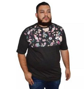 Camiseta Plus Size Masculina Preta Florida