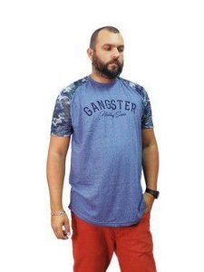 Camiseta Plus Size Masculina Military Series Gangster Azul
