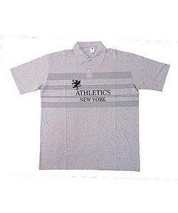 Camisa Polo BigMen Plus Size Masculina New York Cinza